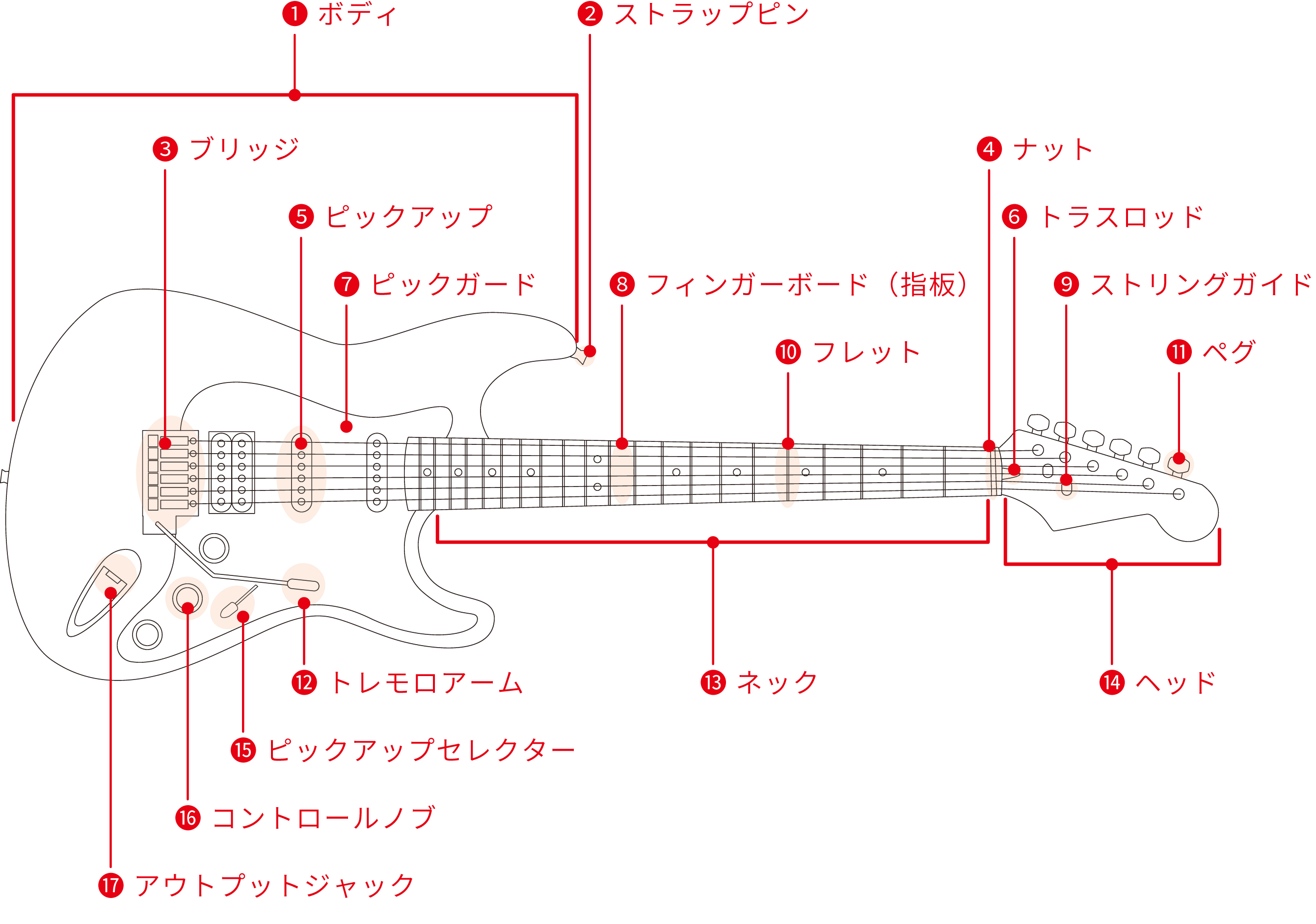 ギター各パーツ「名称」と「役割」